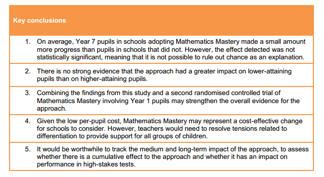 EEF maths mastery table 5
