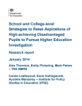 DfE: School and college-level strategies to raise aspirations of high-achieving disadvantaged pupils to pursue higher education